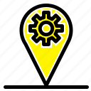 business, gear, location, map icon