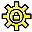 gear, lock, setting, support icon