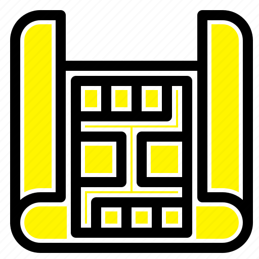 building, construction, map icon