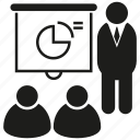 conference, market, office, people, present, seminar, training icon