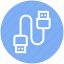 cable, charging cable, connector, data cable, usb cable icon