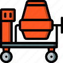 cement, construction, equipment, machinery, mixer icon