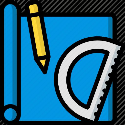 build, construction, develop, drawing, plans, structure icon