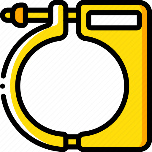 assemble, clamp, construction, plan, yellow icon
