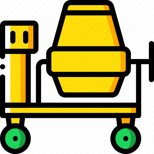 cement, construction, machinery, mixer icon