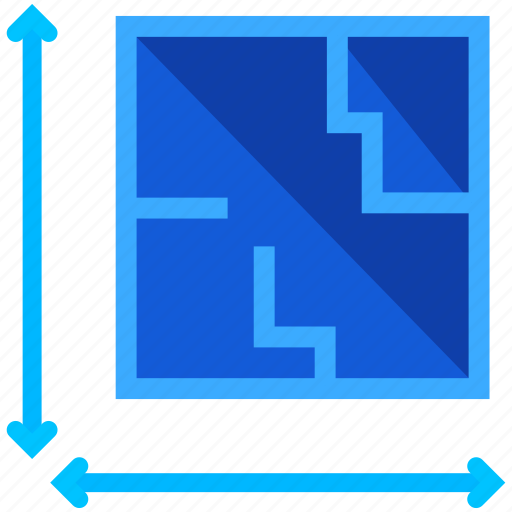 arrows, blueprints, construction, estate, plan, real, size icon