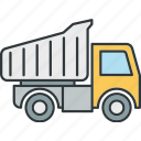 dump, trucks, buiding, truck, van icon