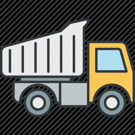 buiding, dump, truck, trucks, van icon
