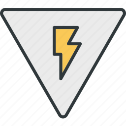 attention, electricity, leakage, lightning, warning icon