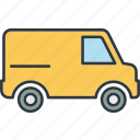 transport, transportation, truck, van icon