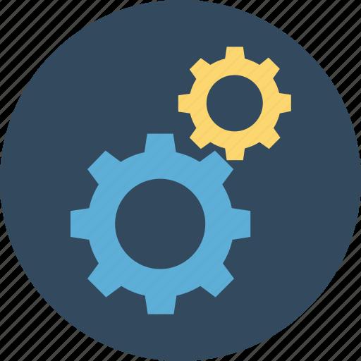 cogwheel, gear, gear wheel, options, settings, two cogs icon