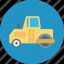 crane, lifter, plain, road bulldozer, road concrete bulldozer, road plain bulldozer icon