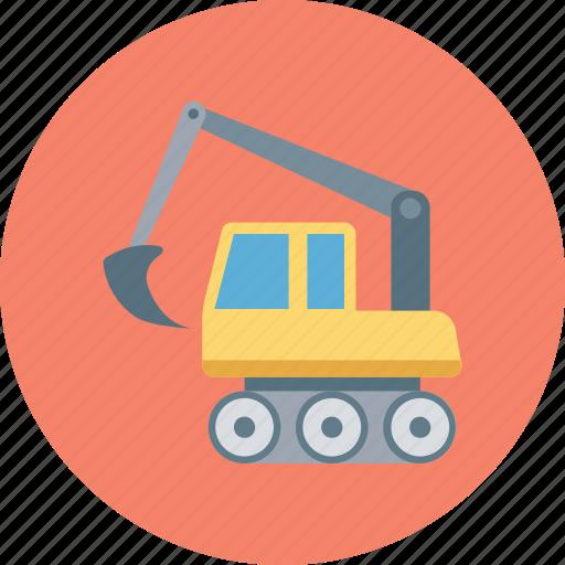 bulldozer, construction, crawler, excavator, heavy machinery icon