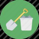 shovel, digging, bucket, gardening tools, farming, spade