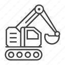 building, construction, digger, equipment, excavator, industry, machinery icon