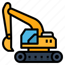 excavator, transport, bulldozer, construction