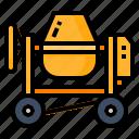 concrete, construction, device, mixer icon