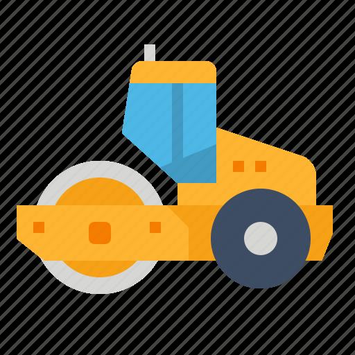construction, machine, roller, smooth, wheel icon