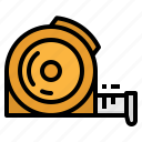 construction, measure, measuring, tape, tools icon