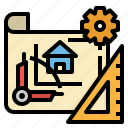 architecture, construction, draft, plan, sketch icon