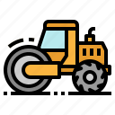 construction, road, steamroller, tools, vehicle icon