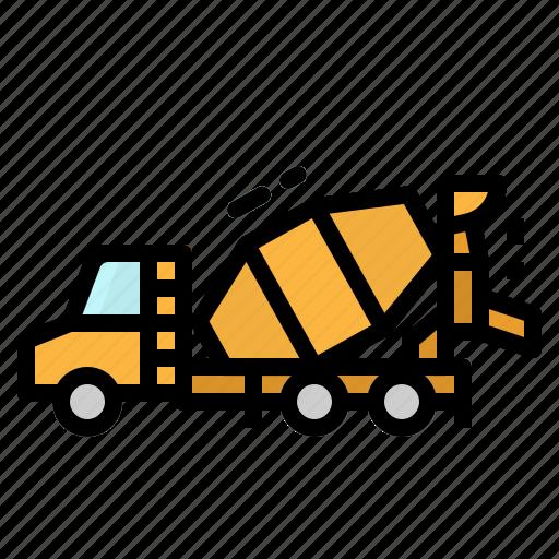 Automobile, concrete, construction, mixer, truck icon - Download on Iconfinder