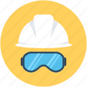 hard hat, safety, safety glasses, safety helmet, worker safety icon