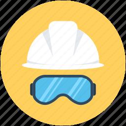 hard hat, safety, safety glasses, safety helmet, worker safety icon
