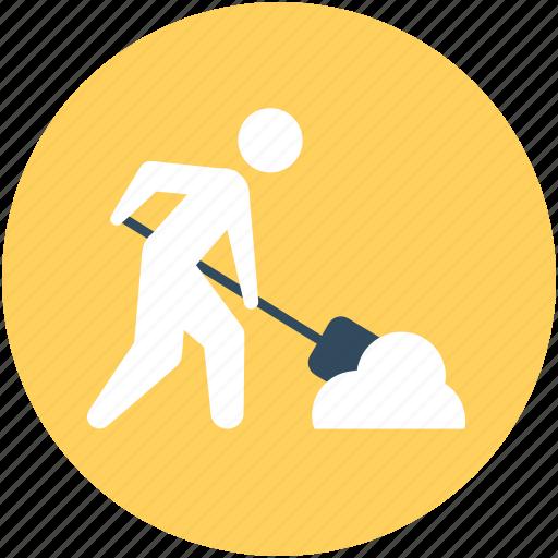labourer, miner, stick man, worker icon