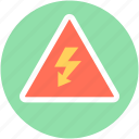 alert, attention, lightening, thunder, voltage warning icon