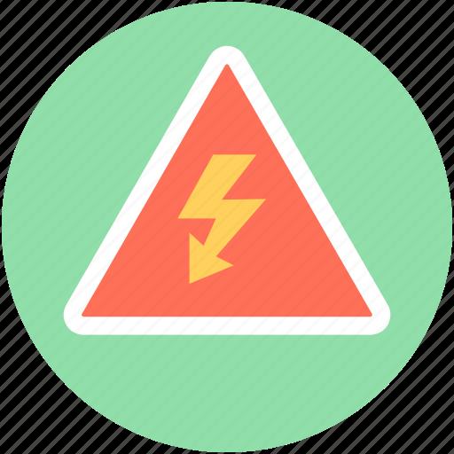 alert, attention, lightening, thunder, voltage warning icon
