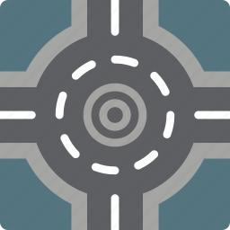 construction, road, roundabout, traffic, work icon