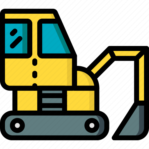 construction, digger, machinery, transport icon
