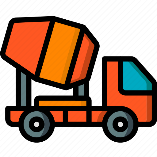 cement, construction, machinery, transport, truck icon