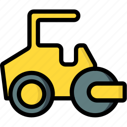 construction, machinery, road, roller, transport icon