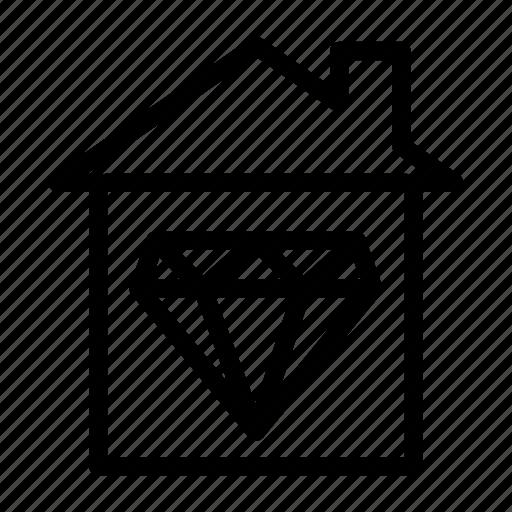 building, construction, diamond, home, house icon