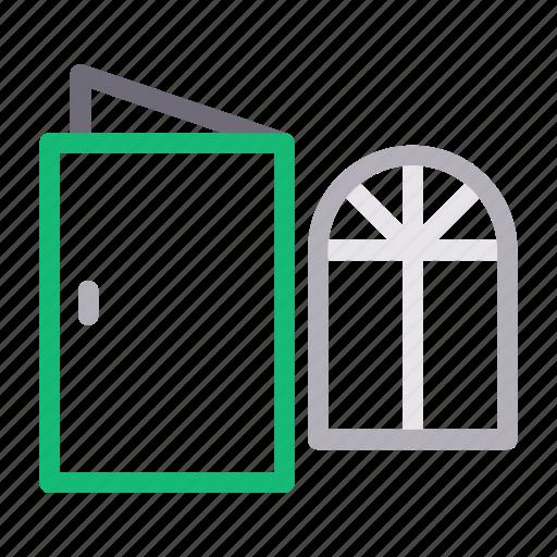 building, construction, door, mirror, window icon