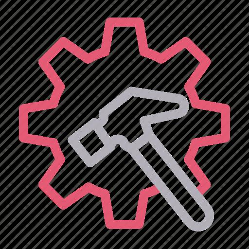 cogwheel, construction, gear, hammer, tools icon