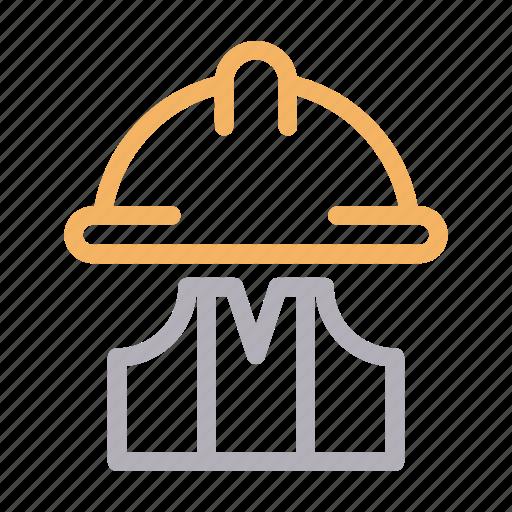 Construction, engineer, helmet, jacket, worker icon - Download on Iconfinder