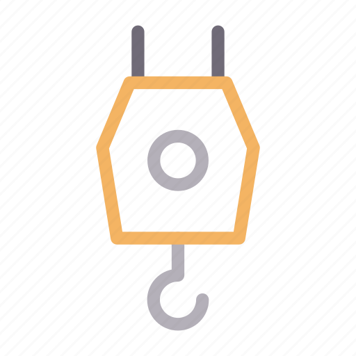 building, construction, crane, equipment, hook icon
