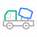 construction, dumber, mixer, truck, vehicle icon