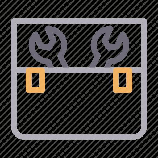 box, equipment, kit, tools, wrench icon