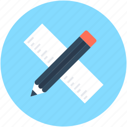 drafting tool, geometry tools, pencil, ruler, scale icon
