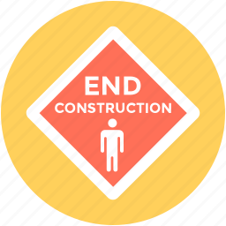 construction sign, construction zone, end construction, road sign, warning sign icon