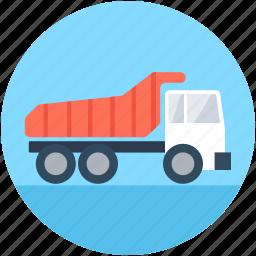 construction, dump truck, transport, truck, vehicle icon