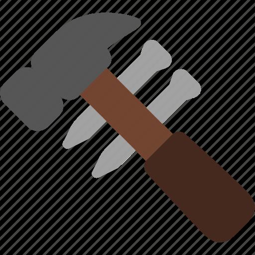construction, hammer, nail, tool icon