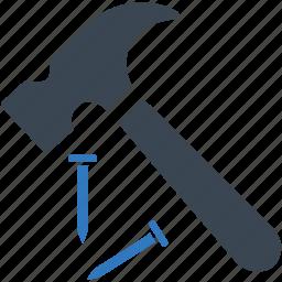 hammer, nail, repair, tool icon