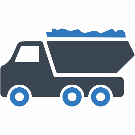 construction, dump truck, loading, material, transport icon