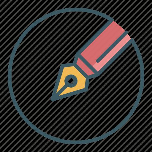 draw, fountain pen, ink pen, pen, school, tool, write icon