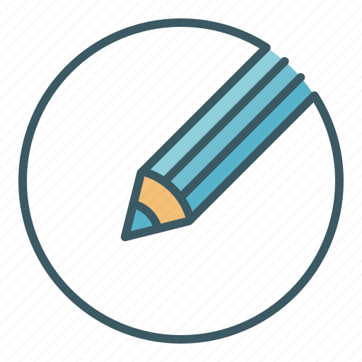 circle, crayon, draw, pencil, school, tool, write icon